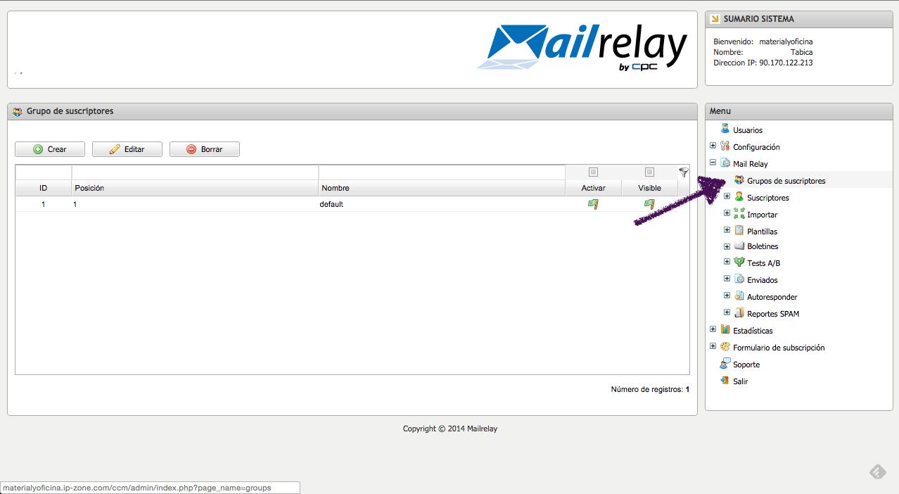 Grupos en Mailrelay
