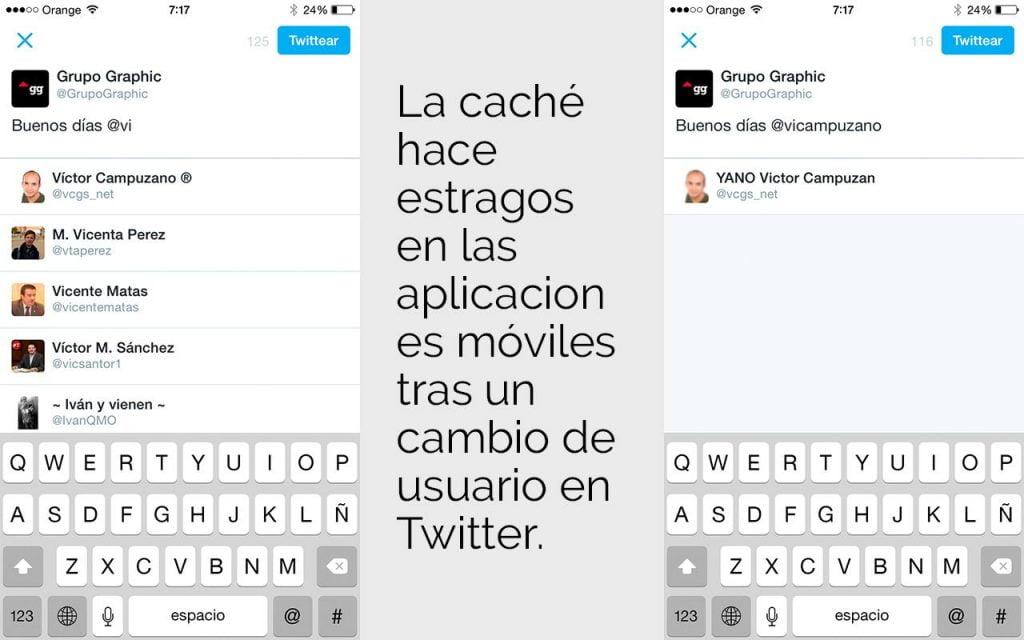 Caché aplicación móvil Twitter