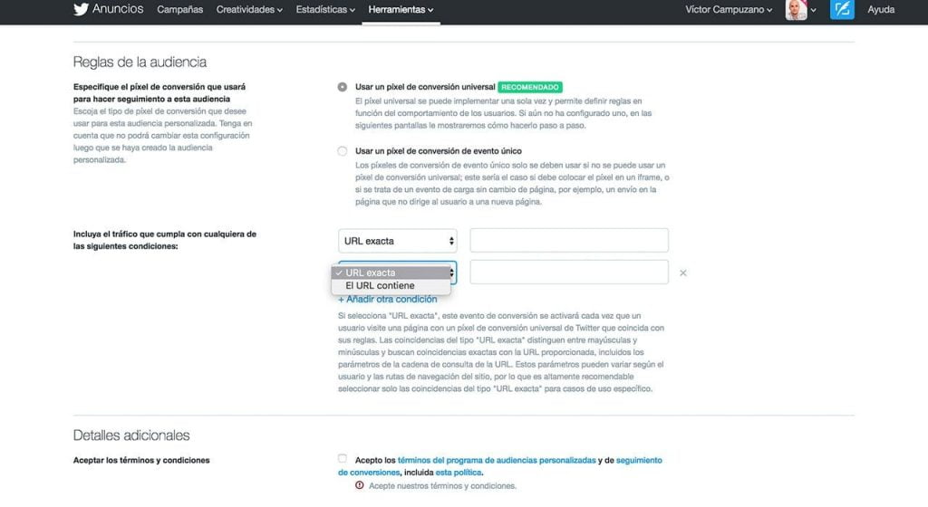 Remarketing Twitter Ads Ejemplo 01