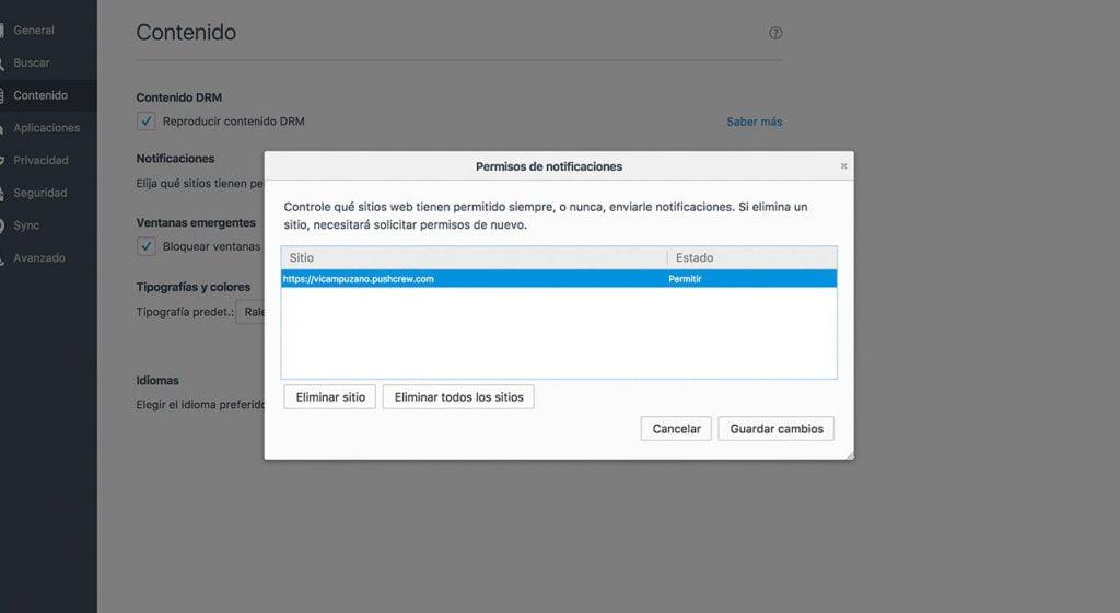 Revocar autorización en Firefox