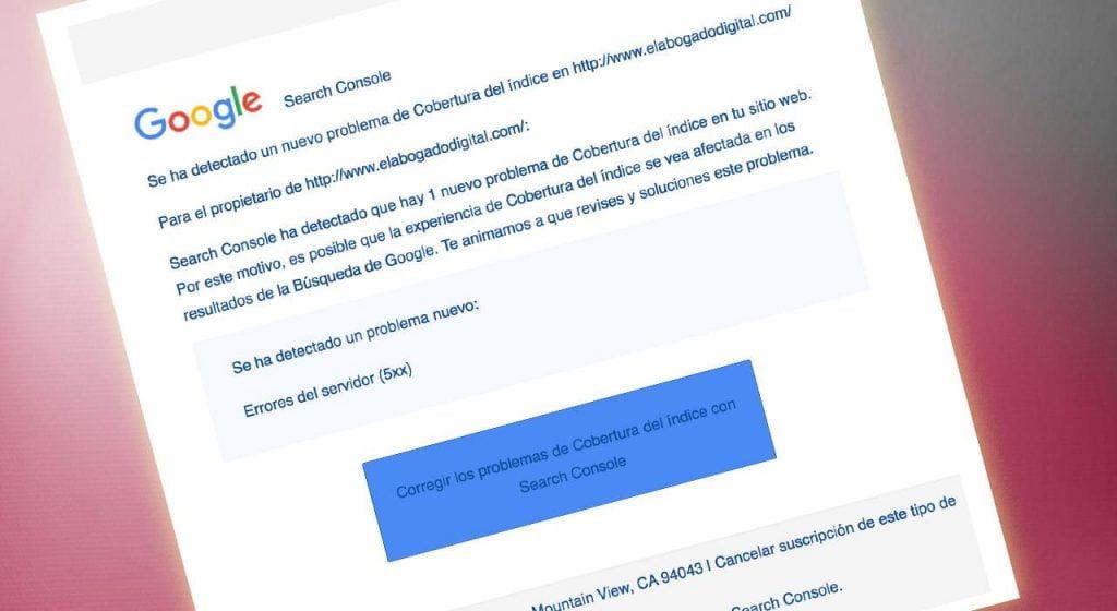 email problemas cobertura indice